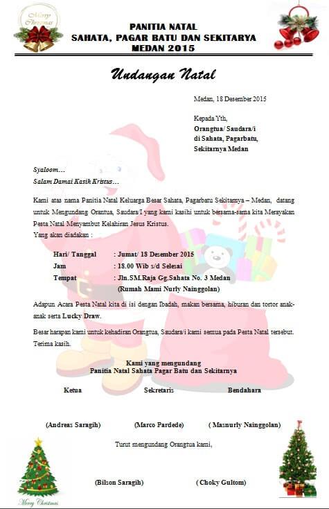 contoh surat undangan natal