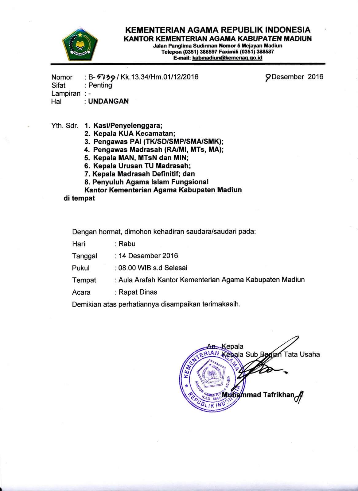 contoh surat undangan rapat dinas