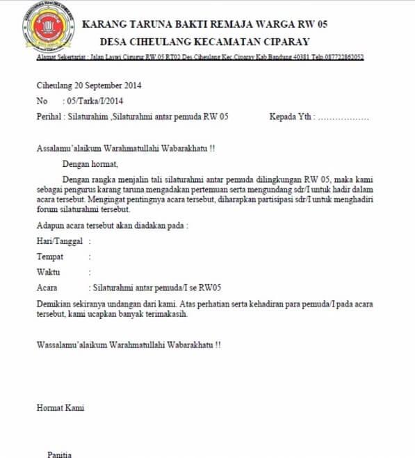 contoh surat undangan karang taruna