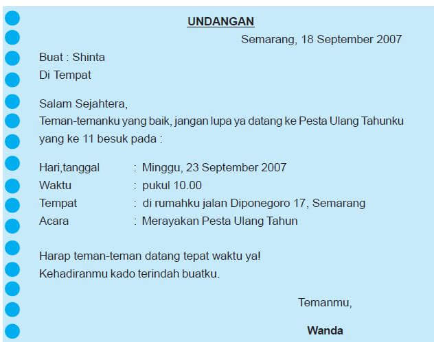 contoh surat undangan tidak resmi