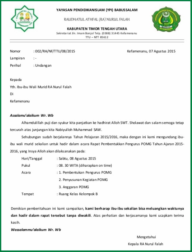 Contoh Surat Resmi Undangan dan Tidak Resmi Doc - Content