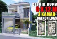 Contoh Denah Desain Rumah Minimalis 2 Lantai 6x12