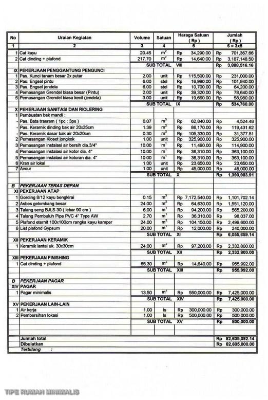 Contoh Rab Rumah Type 70 Excel