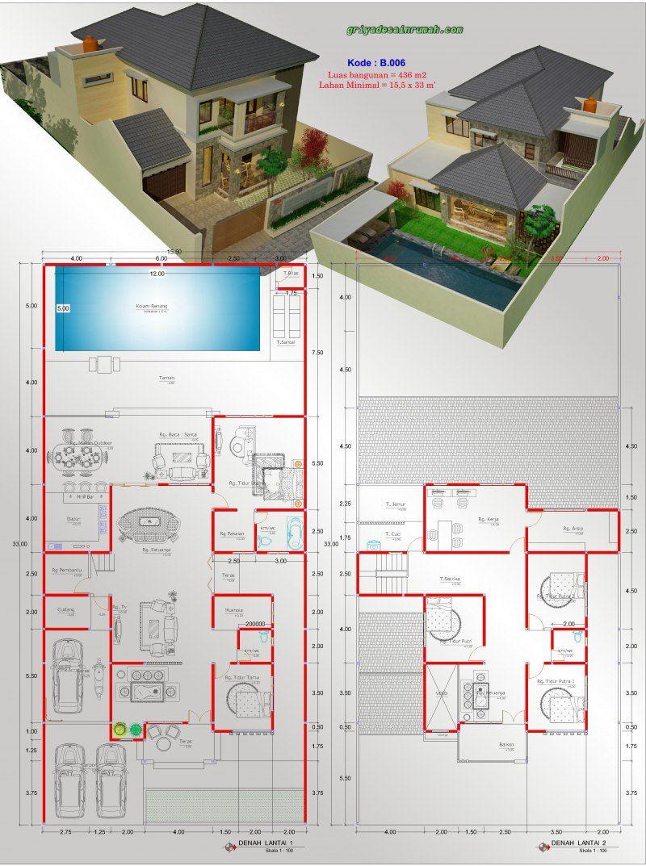 Denah Rumah Mewah 2 Lantai Dengan Kolam Renang 3d Content