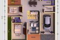 Denah Rumah Minimalis 3 Kamar Tidur 1 Mushola 1 Garasi
