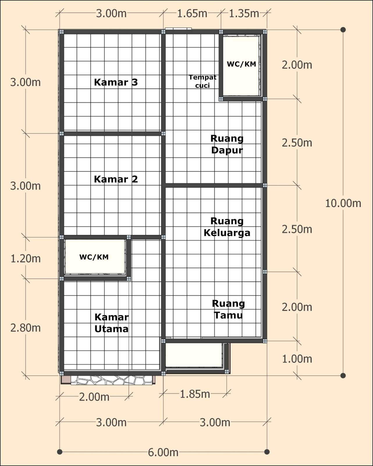 ukuran rumah ideal 3 kamar tidur