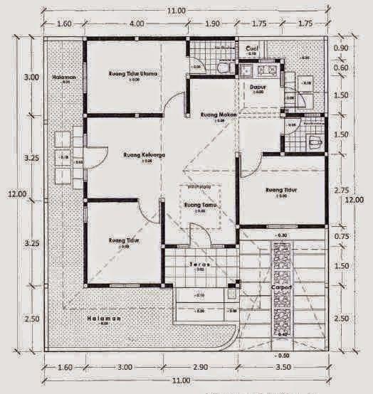 contoh desain rumah 3 kamar tidur