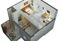 Minimalis Sederhana Denah Rumah 2 Lantai 3d