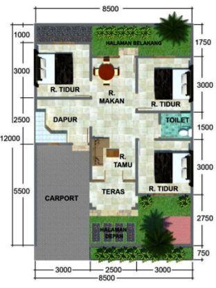 Sederhana Denah Rumah Minimalis 3 Kamar Tidur Type 36 ...