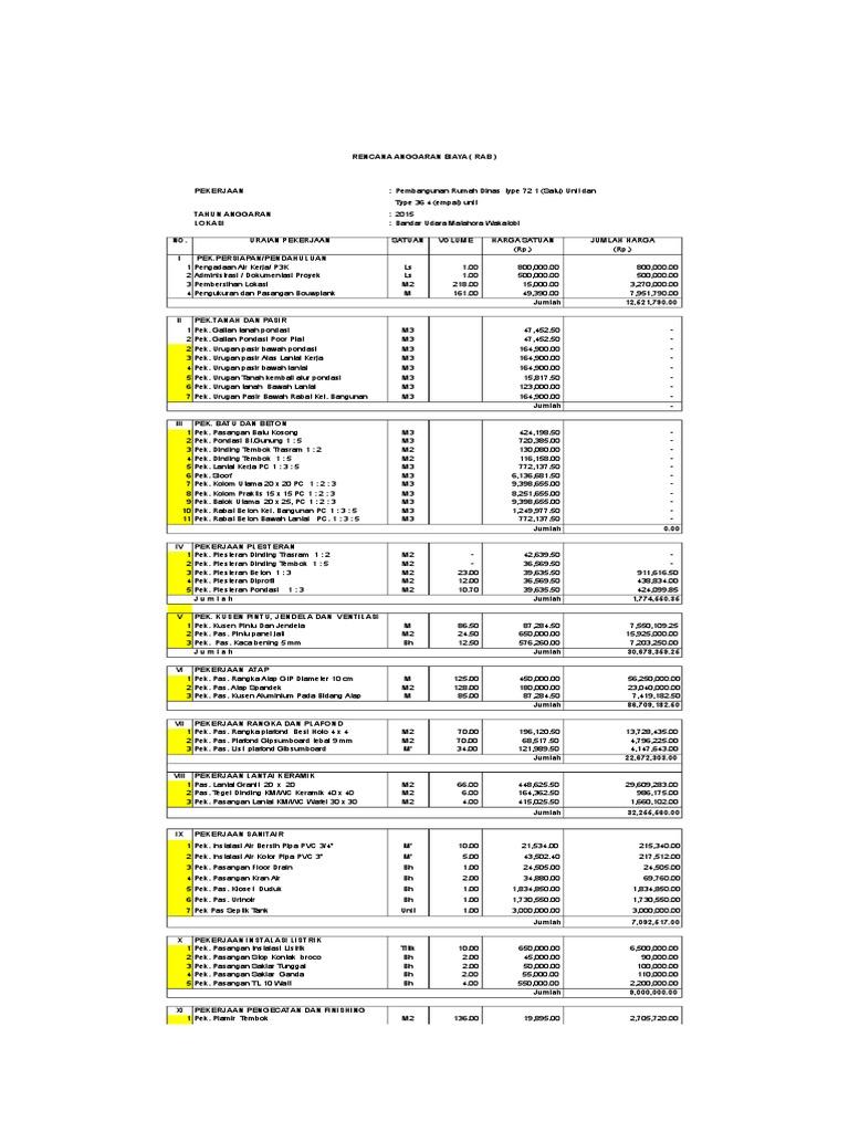 Contoh Rab Rumah Type 70 Excel - Content