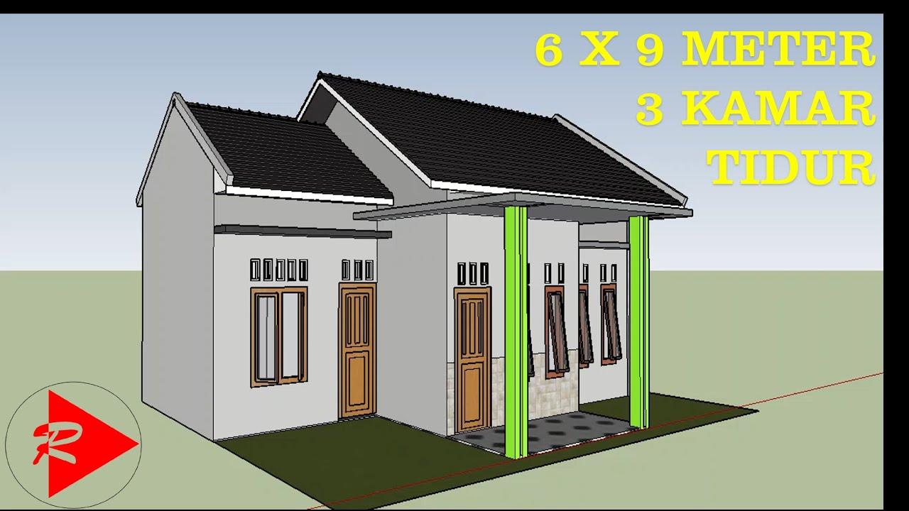 denah rumah 6x9 3 kamar tidur 1 lantai