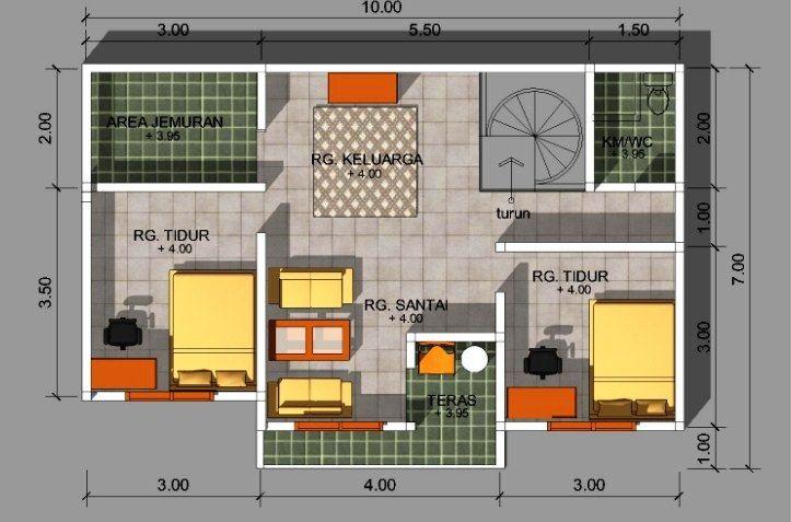 denah rumah 6x8 2 kamar tidur 1 lantai