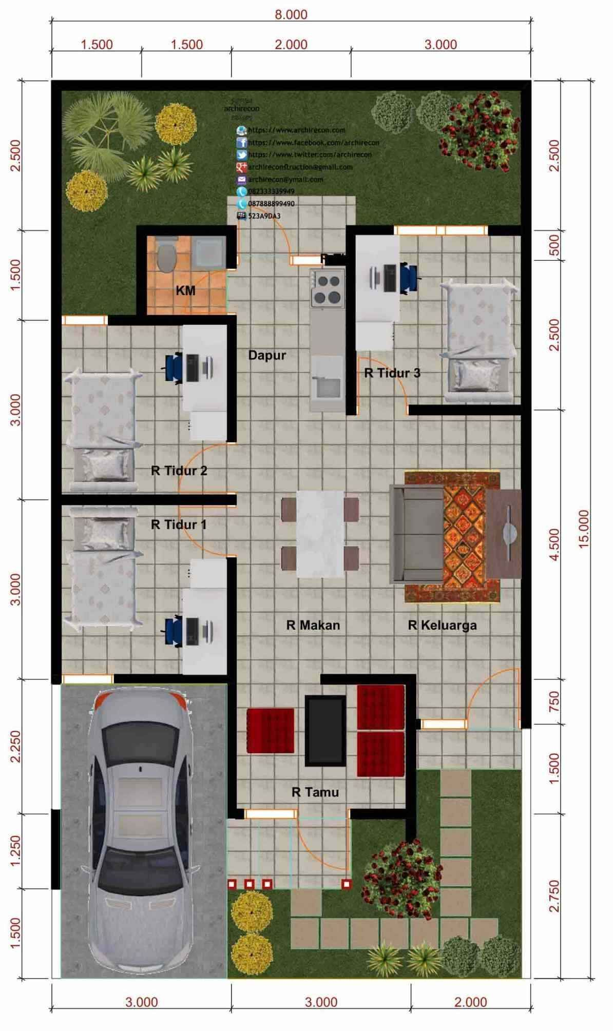 Denah Rumah Minimalis 2 Kamar Ukuran 8x10 Content