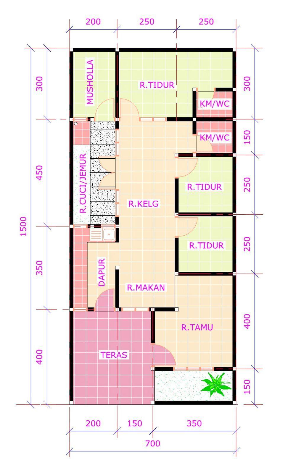 Denah Rumah Minimalis 7x15 1 Lantai 3 Kamar Content