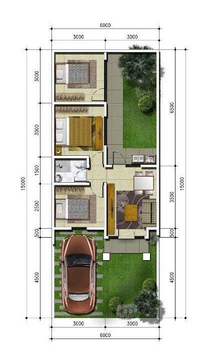Desain Rumah 6x15 1 Lantai 3 Kamar Tidur - Content