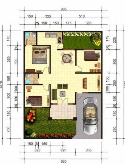 Desain Rumah Minimalis Type 45 2 Kamar Tidur - Content