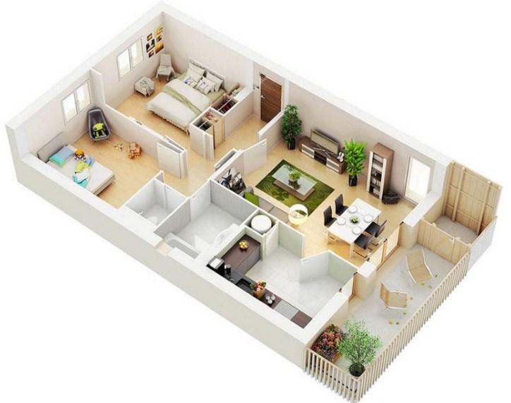 gambar denah rumah 1 lantai 2 kamar tidur