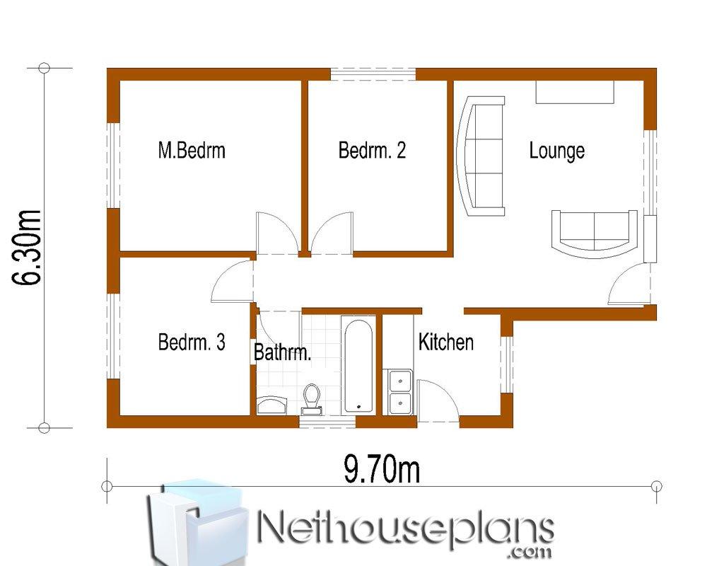 Ukuran 6x9 Denah Rumah Sederhana 3 Kamar Tidur Content