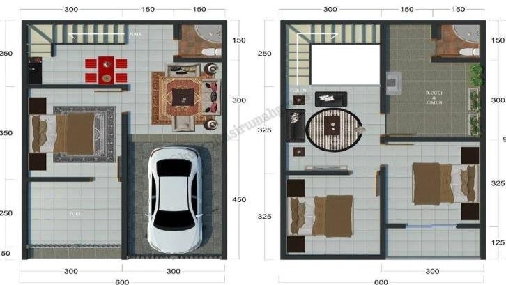 Denah Rumah Type 36 2 Lantai Sederhana - Content