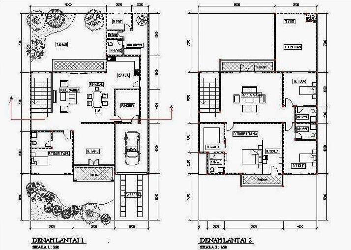 Gambar Denah Rumah Minimalis 2 Lantai 4 Kamar Tidur Content