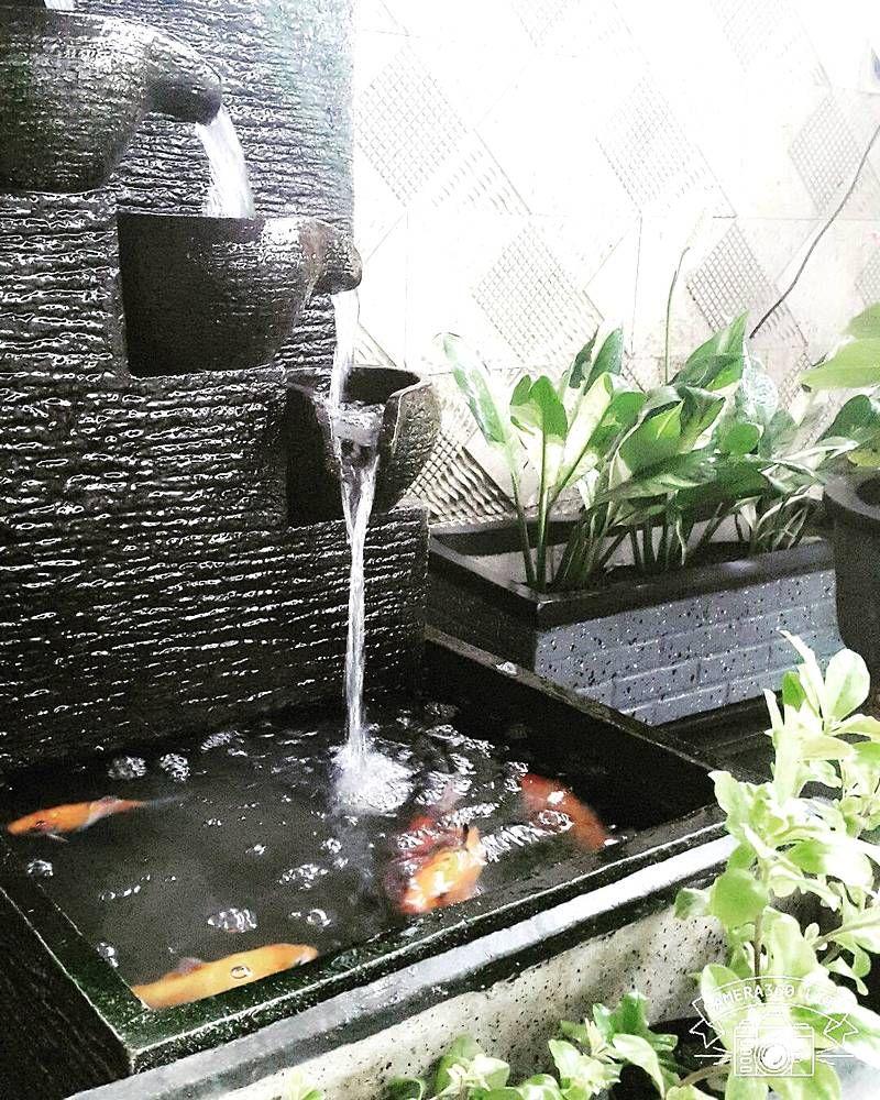 model kolam ikan kecil di teras rumah