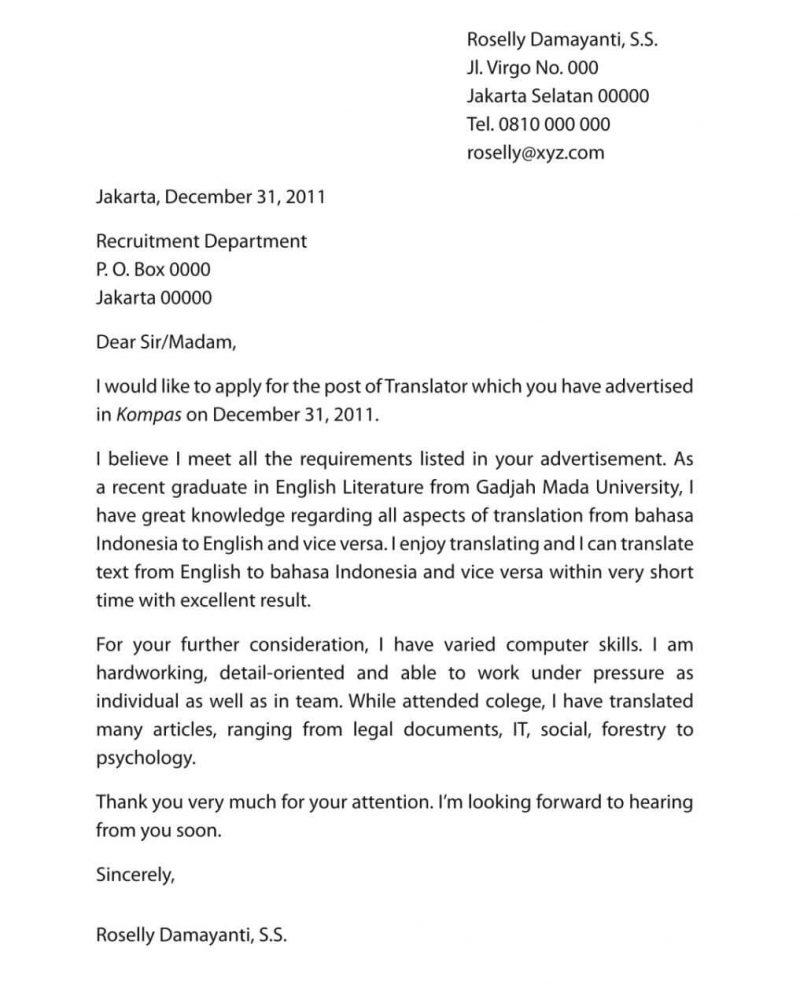 30 Contoh Surat Lamaran Kerja Bahasa Inggris Dan Artinya Terlengkap Content
